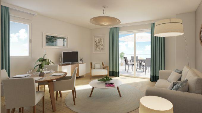 Salon d'un appartement de la résidence pour seniors Terre de Seine Suresnes