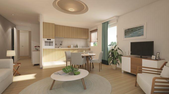 Cuisine d'un appartement de la résidence pour seniors Terre de Seine Suresnes